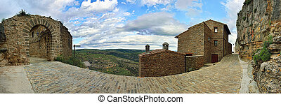 Landscape with mountain view in small old town Ares in Spain.