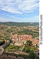 landscape with mountain view of the old town Morella in Spain.