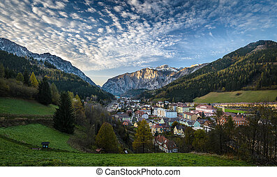 Eisenerz - Landscape with mountains and Eisenerz city in ...