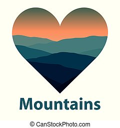 Landscape with mountains and hills in shape of heart. Extreme sports, outdoor recreation background.
