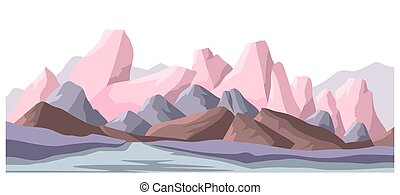Mountain range landscape of country, tourist destination. Rigid texture of surfaces, scenery with peaks, hills and cliffs. Countryside or wilderness panorama for adventures, vector in flat style