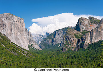 Landscape with mountains and waterfall in Yosemite