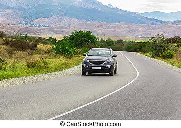 mountains, lake, road and car