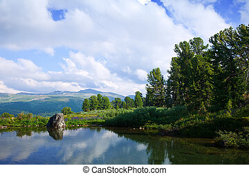 Landscape with mountains lakes