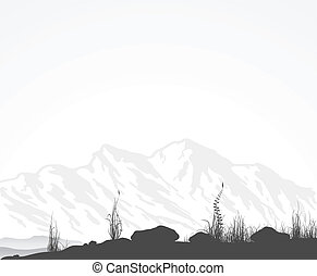 Landscape with mountain range, grass and stones. Vector illustratoin.