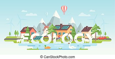 Landscape with mountains - modern flat design style vector illustration
