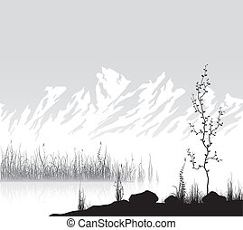 Landscape with mountains near lake - Landscape with mountain...