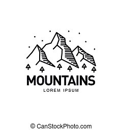 Landscape with mountains, trees and sky, vector illustration