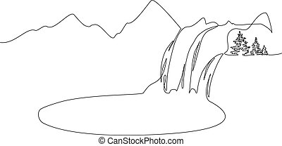 Landscape with mountains, waterfall and lake. One line - ...