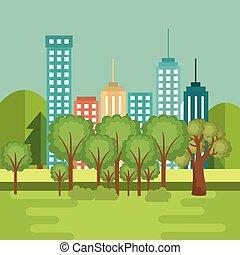 landscape with neighborhood scene
