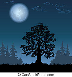 Landscape with oak tree and the moon