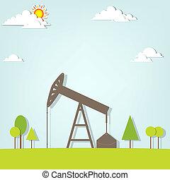 landscape with oil pump