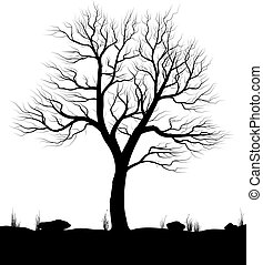 Landscape with old tree and grass over white background. Black and white vector illustration.