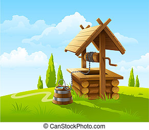 landscape with old wooden well and bucket of water illustration