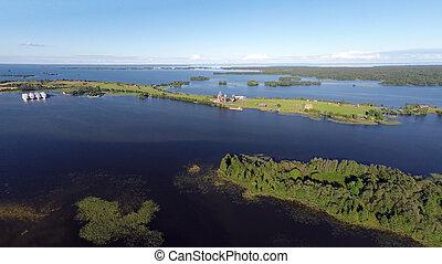 Onega lake and Kizhi island in Karelia - aerial view -...