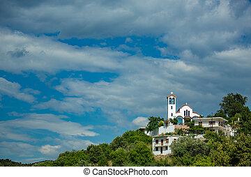 Landscape with orthodox church, Mursi, Albania