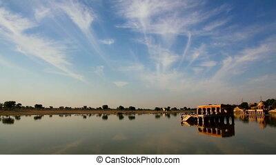 landscape with palace on lake in Jaisalmer India