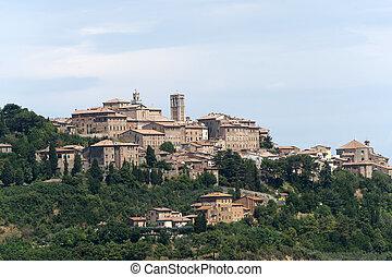 Landscape with panorama of Chianciano (Siena, Tuscany, Italy)