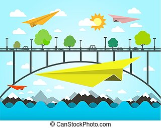 Landscape with Paper Plains. Bridge and Ocean Vector Illustration. Flat Design Vector Nature Scene.