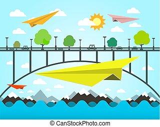 Landscape with Paper Plains. Bridge and Ocean Vector Illustration. Flat Design Vector Nature Scene.