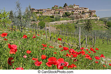 landscape with picturesque tuscan village - borgo ...
