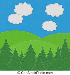 Landscape with pine forests in the mountains with stitch style on fabric background