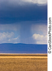 Landscape with rain and clouds in the distance