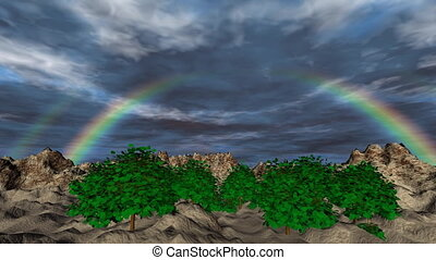 Landscape with rainbow and clouds timelapse 3D animation