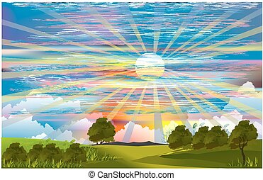landscape with rays,