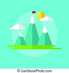 Landscape with red flag on the mountain peak.