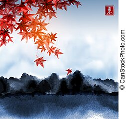 Landscape with red japanese maple leaves, blue cloudy sky and dark forest. Traditional Japanese ink wash painting sumi-e. Hieroglyph - beauty.