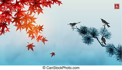 Landscape with red japanese maple leaves, blue cloudy sky and three birds on pine tree. Traditional Japanese ink wash painting sumi-e. Hieroglyph - eternity