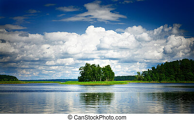 Landscape with reflection in water