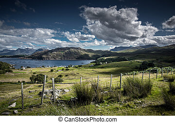 Landscape with Remote Village at the Coast of the Isle of Skye in Scotland