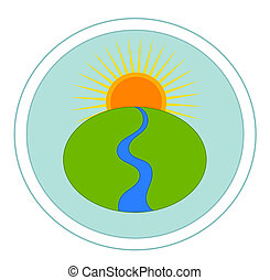 Landscape with river and sun - vector emblem