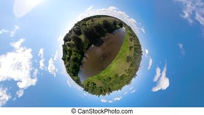 Landscape with river and trees spherical panorama - Summer...