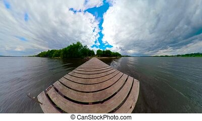 Landscape with river spherical little planet - Spherical...