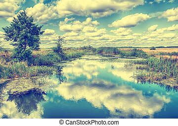 Landscape with river, trees and clouds in the sky.