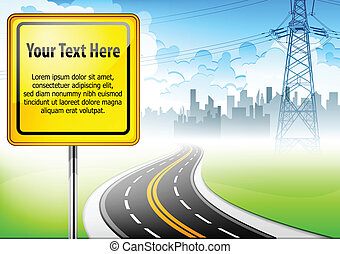 Landscape with road sign & text