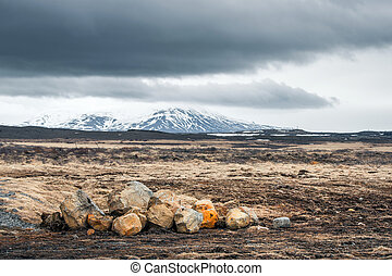 Landscape with rocks and mountains
