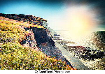 Landscape with rocky coast of North Sea. Normandy, France
