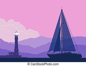 Landscape with sailing yacht at sunset. Vector