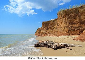 Landscape with sea and beautiful clay shore in Kurortnoe