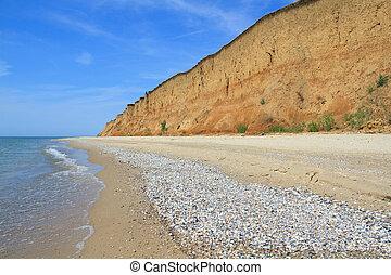Landscape with sea and beautiful clay shore in Kurortnoe , Ukraine
