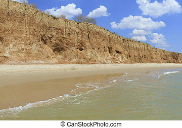Landscape with sea and beautiful clay shore