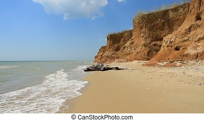 Landscape with sea and beautiful clay shore in Ukraine