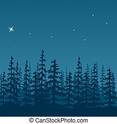 landscape with silhouette of forest at night Sky, stars, wood, trees, firs, mist. Vector illustration