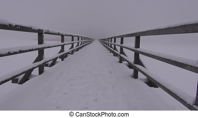 landscape with snowed down bridge