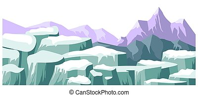 Landscape with snowy picks and mountain ranges vector