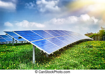 Landscape with solar energy field at summer day